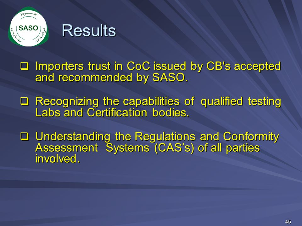 Results Importers trust in CoC issued by CB s accepted and recommended by SASO.