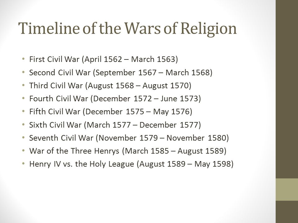 Timeline of the Wars of Religion