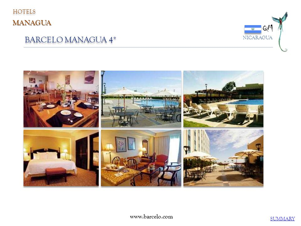 HOTELS QM NICARAGUA MANAGUA BARCELO MANAGUA 4* www.barcelo.com SUMMARY