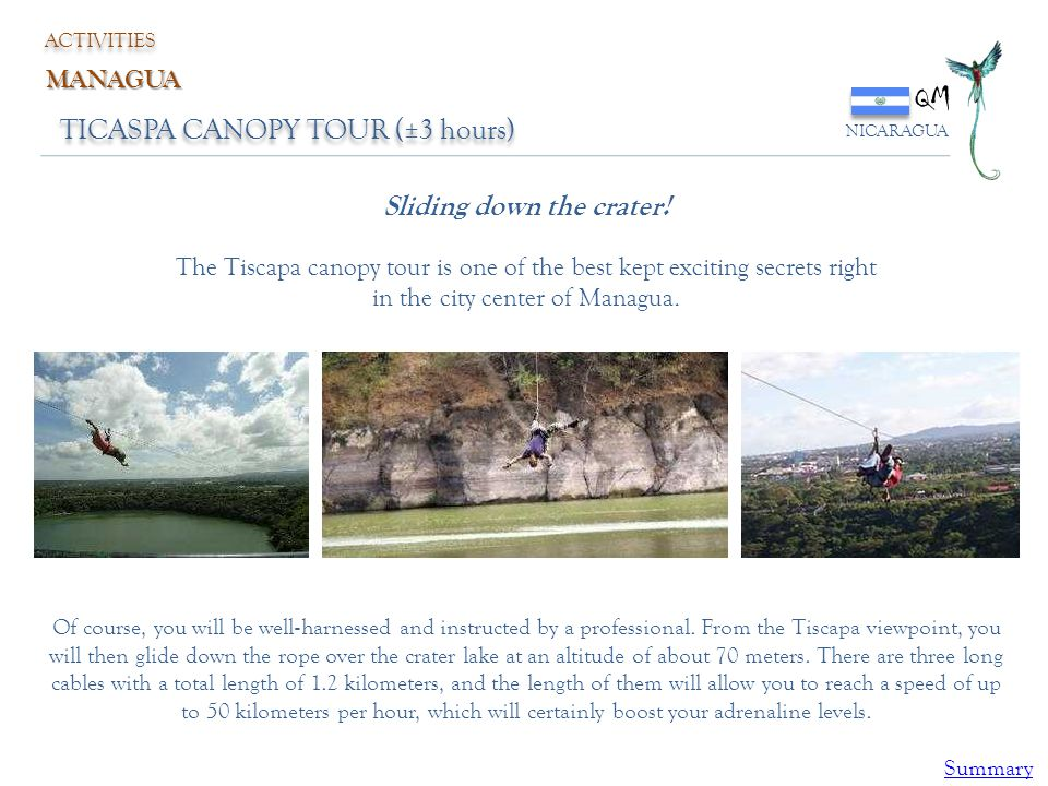 QM TICASPA CANOPY TOUR (±3 hours) Sliding down the crater! MANAGUA