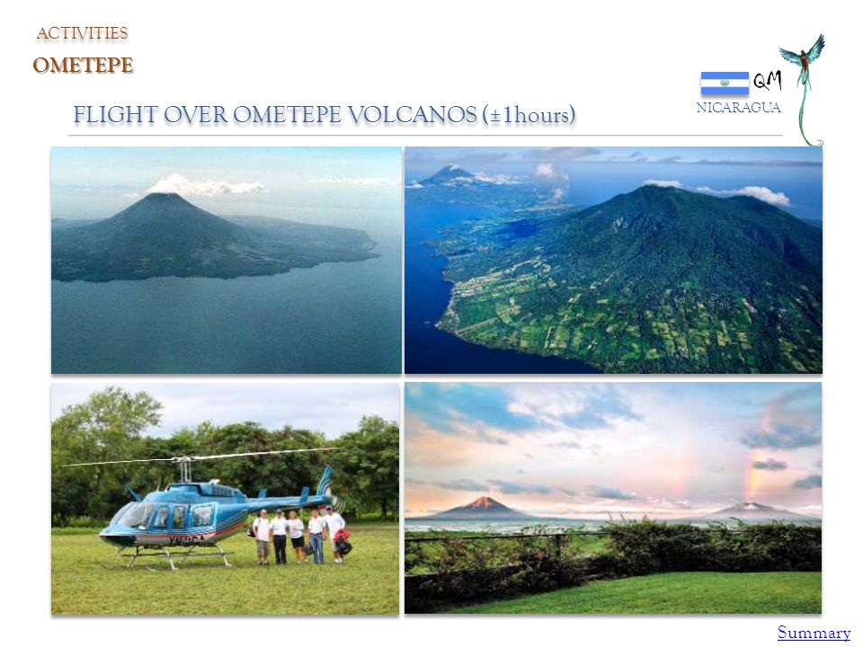 QM FLIGHT OVER OMETEPE VOLCANOS (±1hours) OMETEPE Summary ACTIVITIES