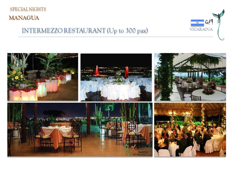 QM INTERMEZZO RESTAURANT (Up to 300 pax) MANAGUA SPECIAL NIGHTS