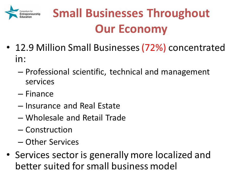 Small Businesses Throughout Our Economy