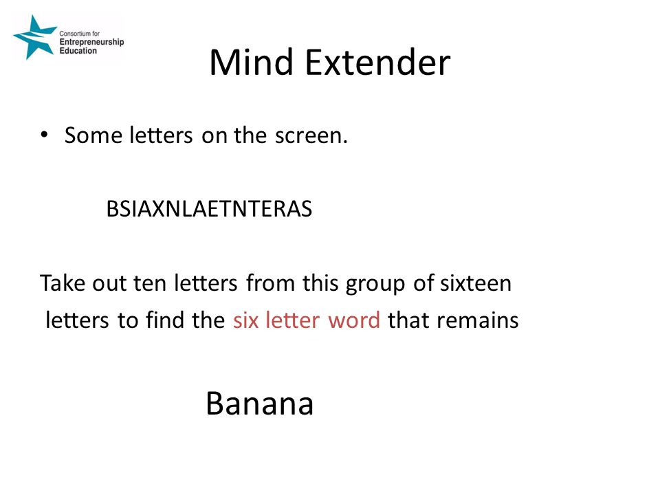 Mind Extender Some letters on the screen. BSIAXNLAETNTERAS