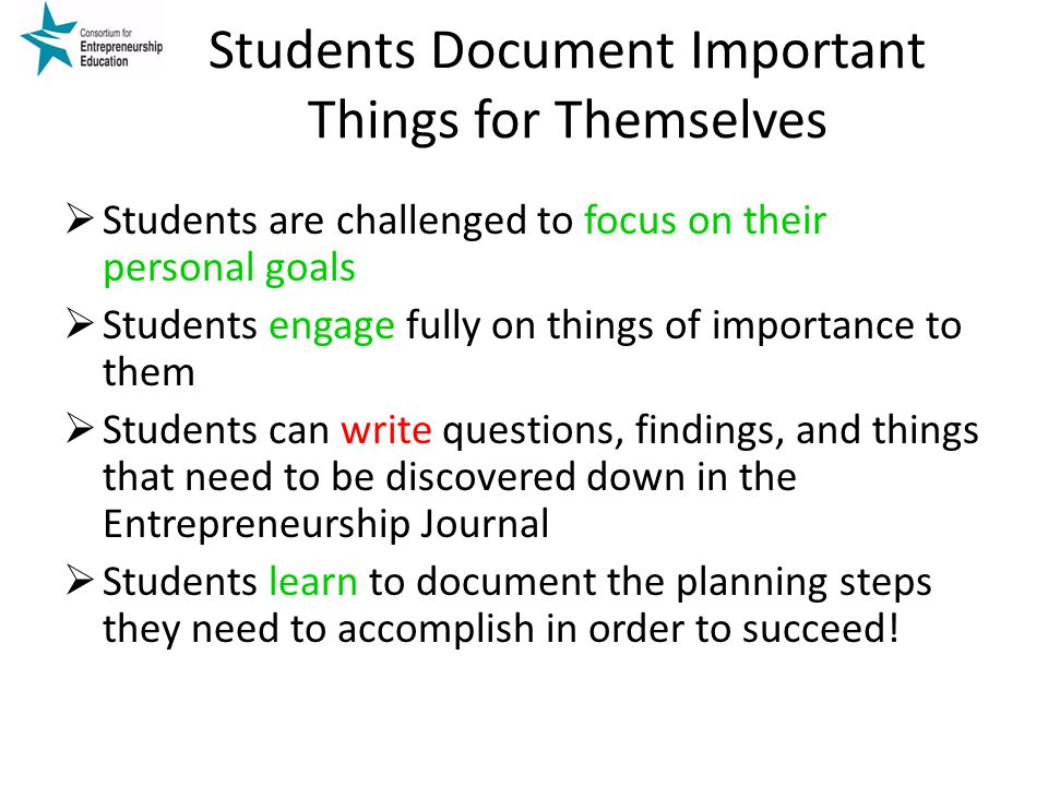 Students Document Important Things for Themselves