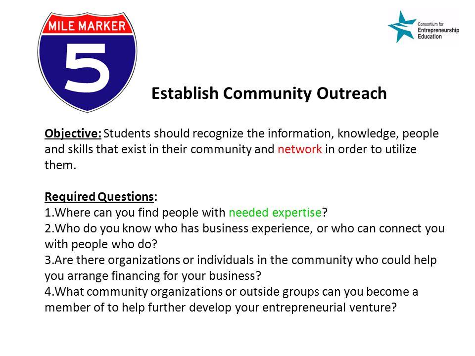 Establish Community Outreach