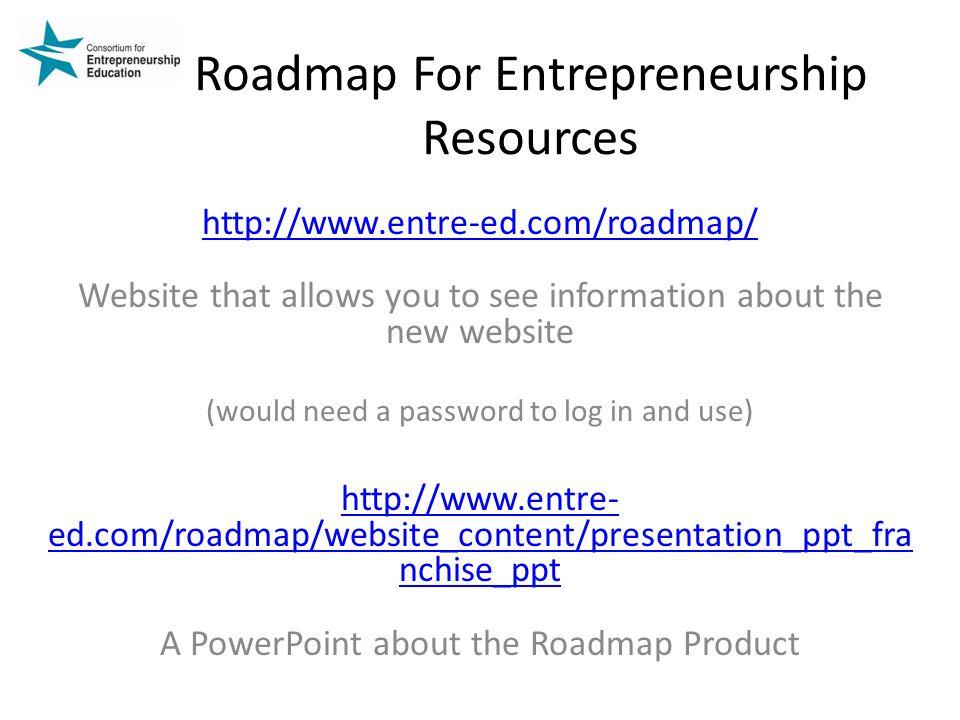 Roadmap For Entrepreneurship Resources