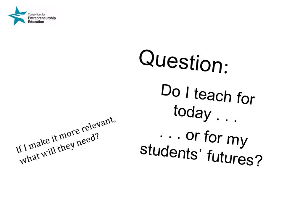 Do I teach for today . . . . . . or for my students' futures