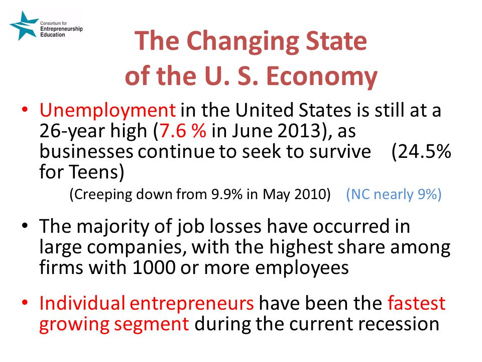 The Changing State of the U. S. Economy