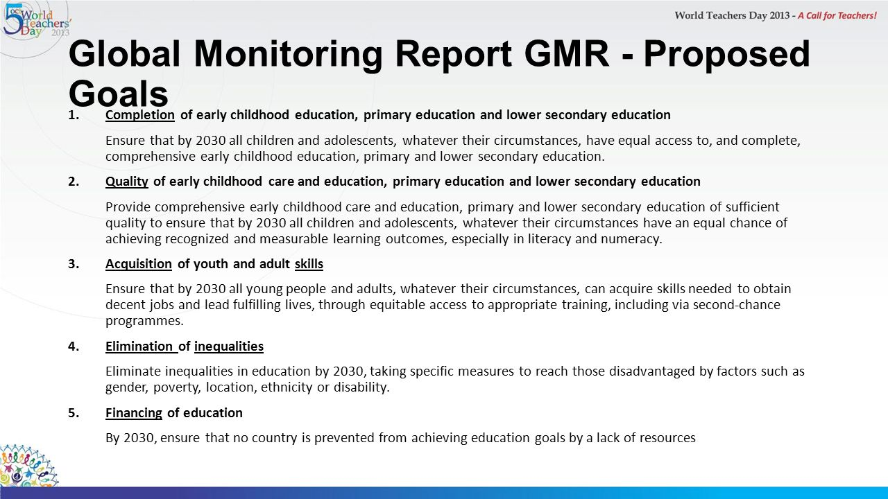 Global Monitoring Report GMR - Proposed Goals