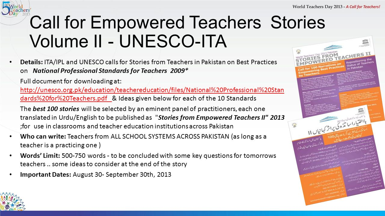 Call for Empowered Teachers Stories Volume II - UNESCO-ITA