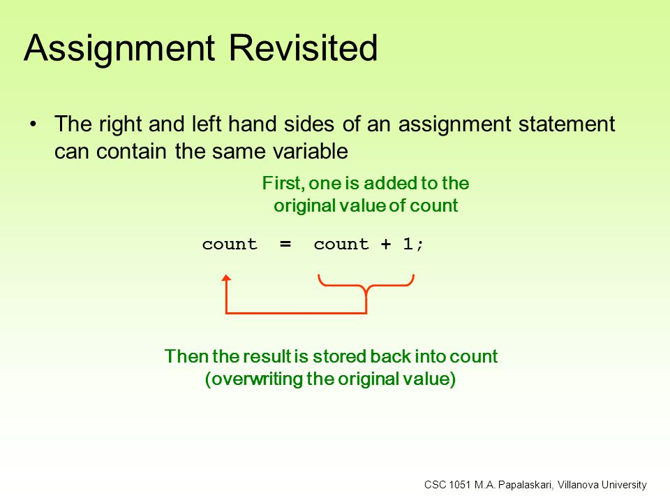 Assignment Revisited The right and left hand sides of an assignment statement can contain the same variable.