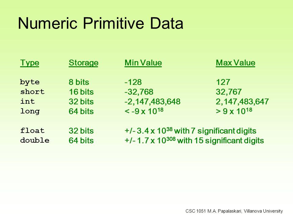 Numeric Primitive Data