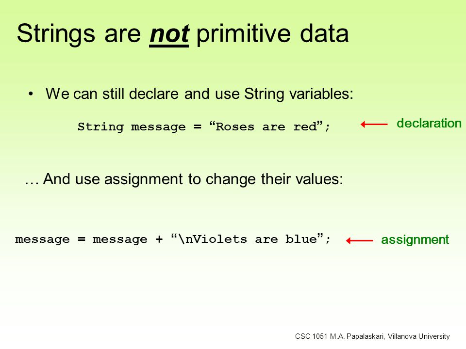 Strings are not primitive data