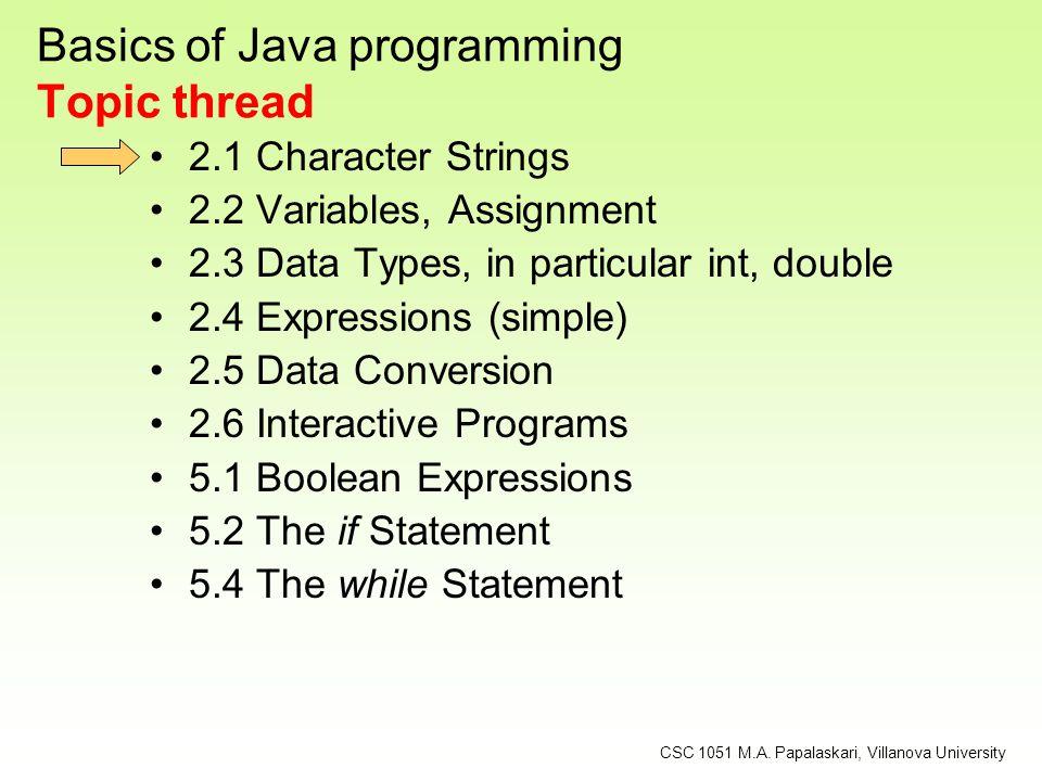 Basics of Java programming Topic thread