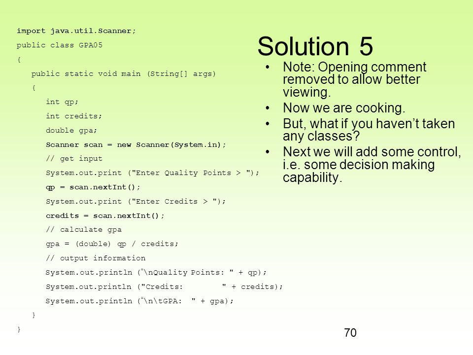 Solution 5 Note: Opening comment removed to allow better viewing.