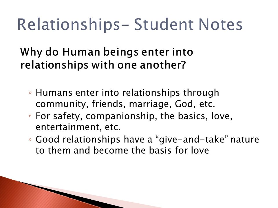 Relationships- Student Notes