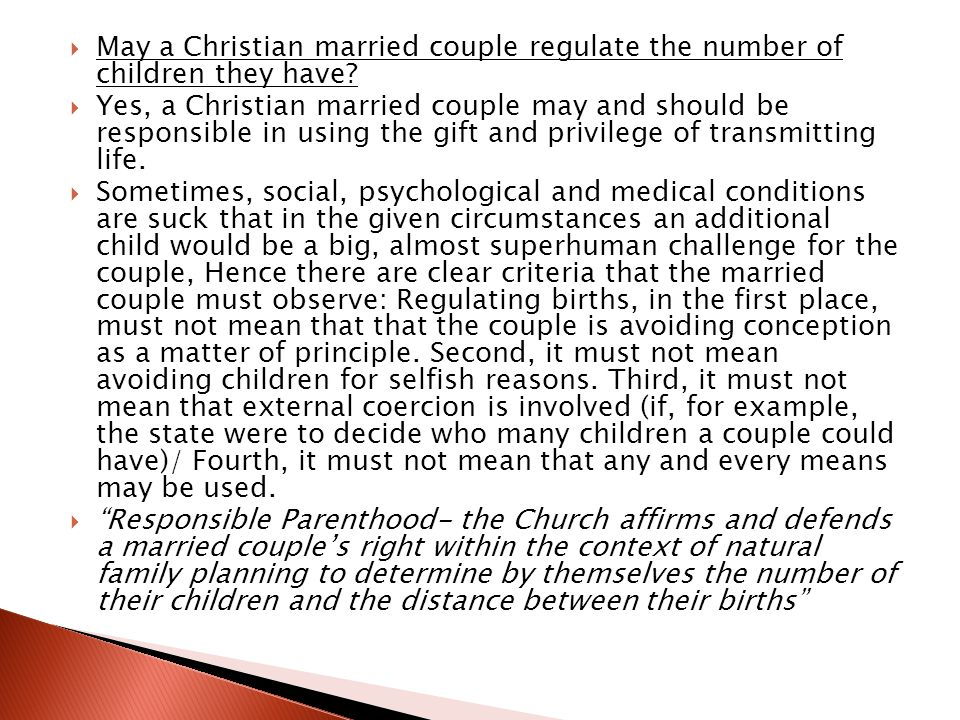 May a Christian married couple regulate the number of children they have