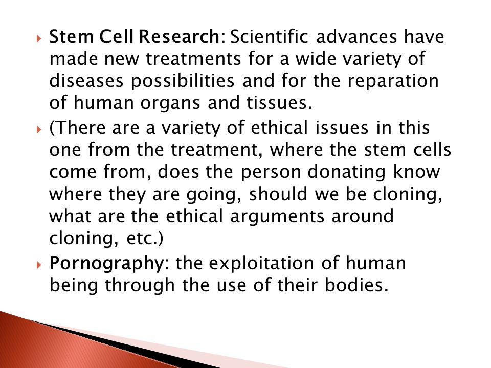 Stem Cell Research: Scientific advances have made new treatments for a wide variety of diseases possibilities and for the reparation of human organs and tissues.
