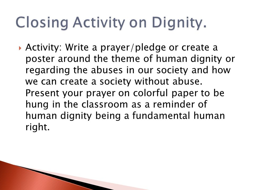 Closing Activity on Dignity.