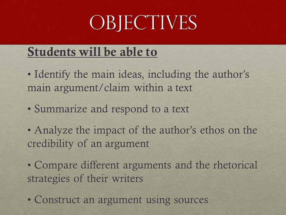 Objectives Students will be able to