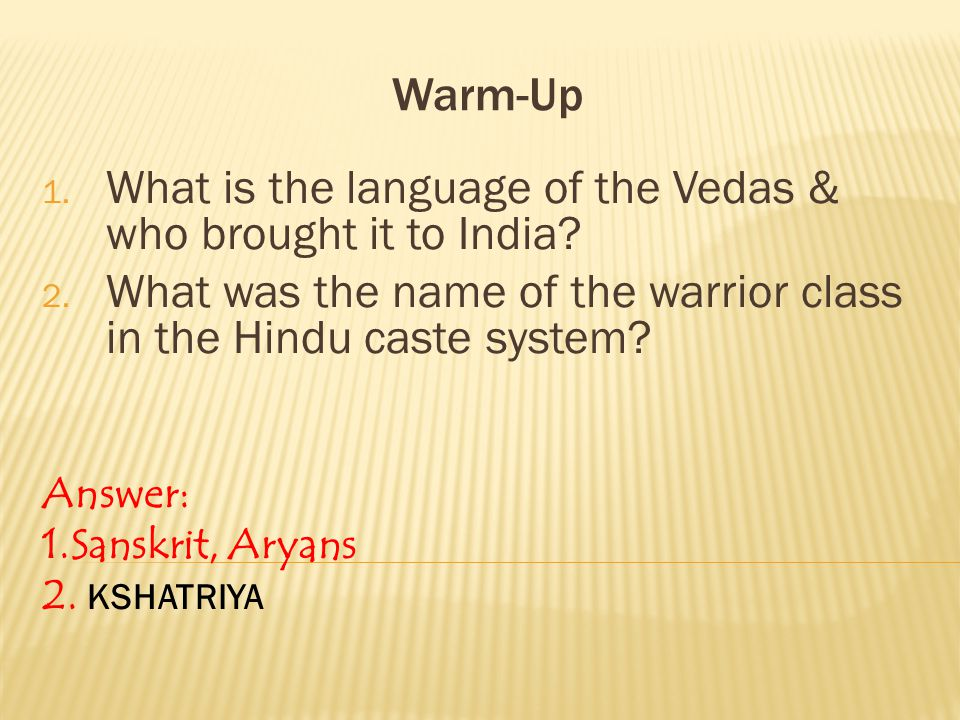 What is the language of the Vedas & who brought it to India