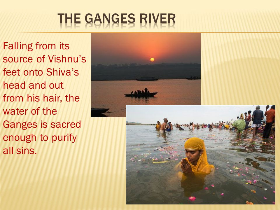 The Ganges River Falling from its source of Vishnu's feet onto Shiva's