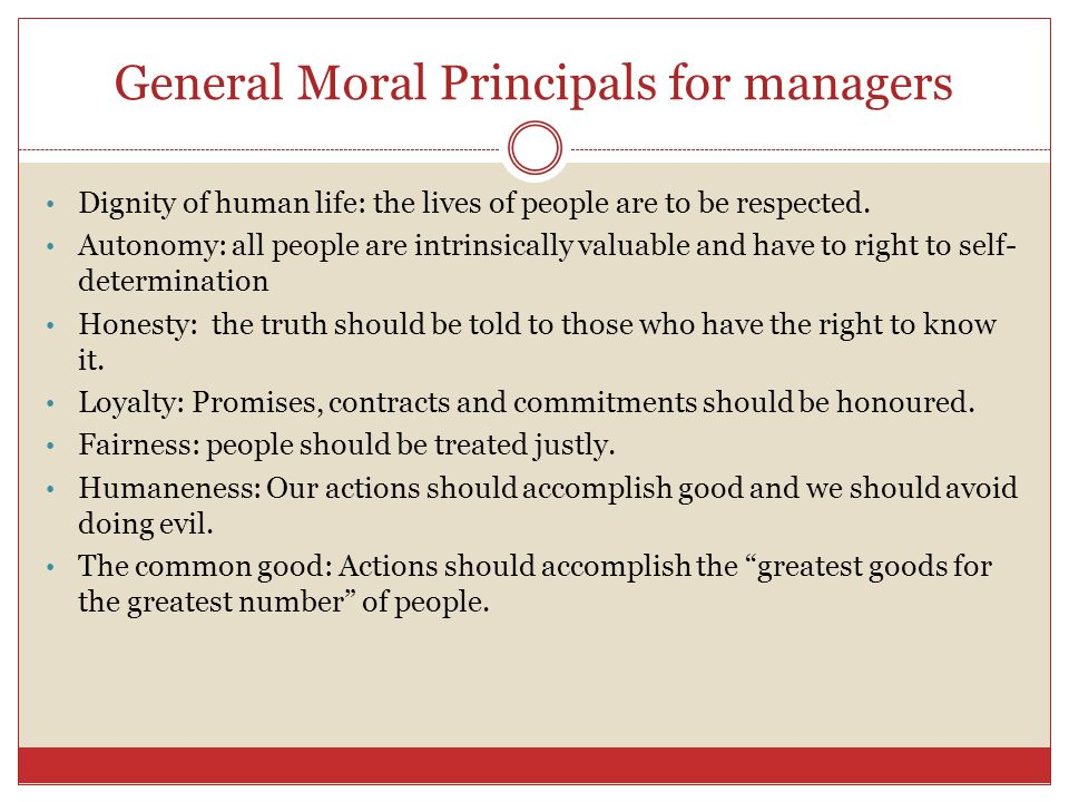 General Moral Principals for managers