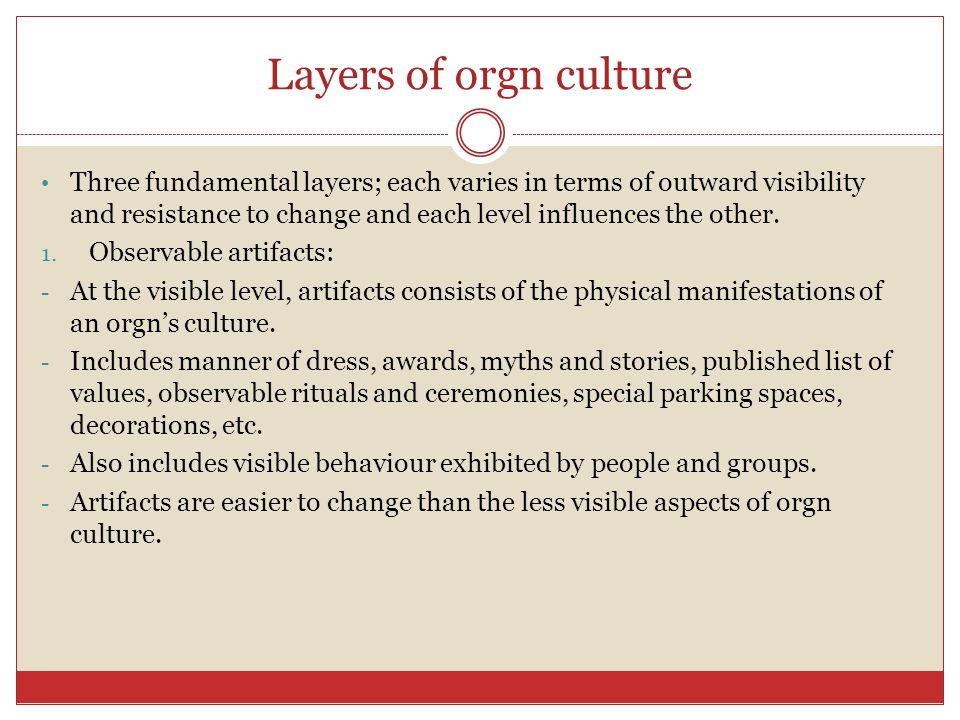 Layers of orgn culture
