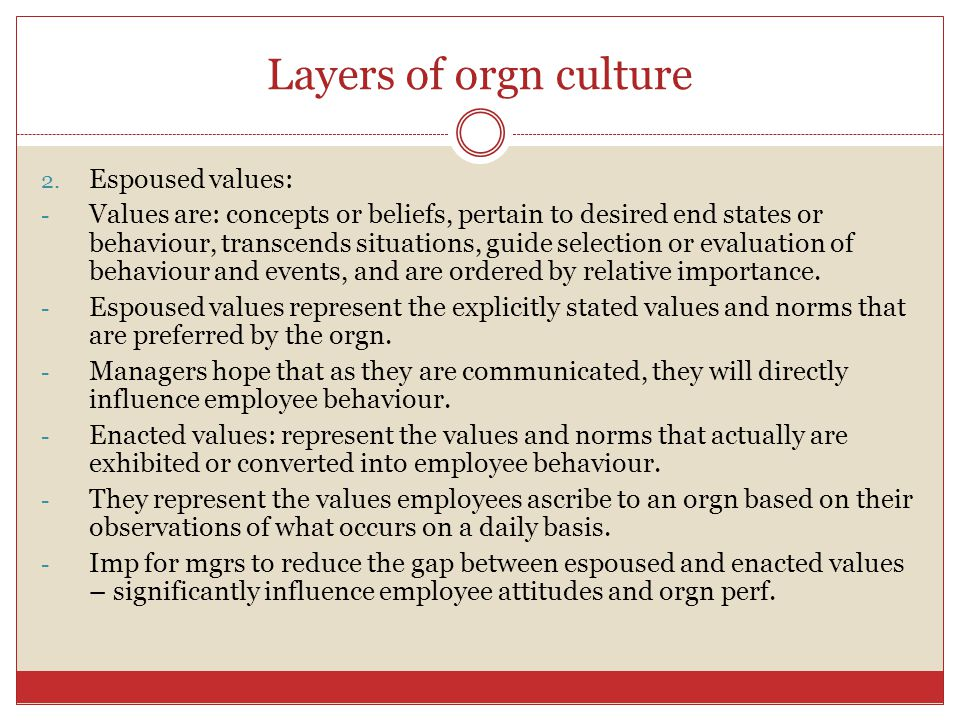 Layers of orgn culture Espoused values: