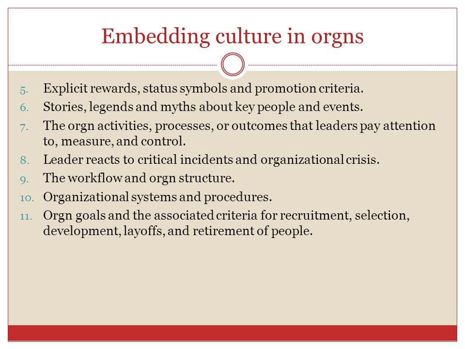 Embedding culture in orgns