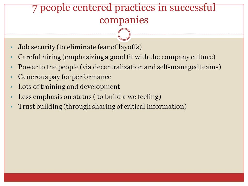 7 people centered practices in successful companies