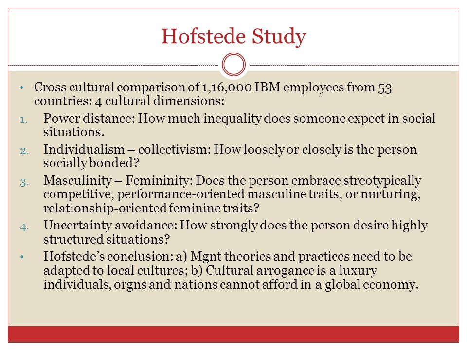 Hofstede Study Cross cultural comparison of 1,16,000 IBM employees from 53 countries: 4 cultural dimensions:
