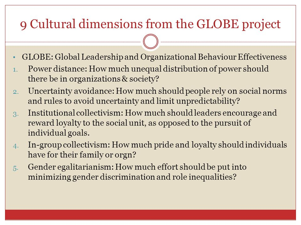 9 Cultural dimensions from the GLOBE project