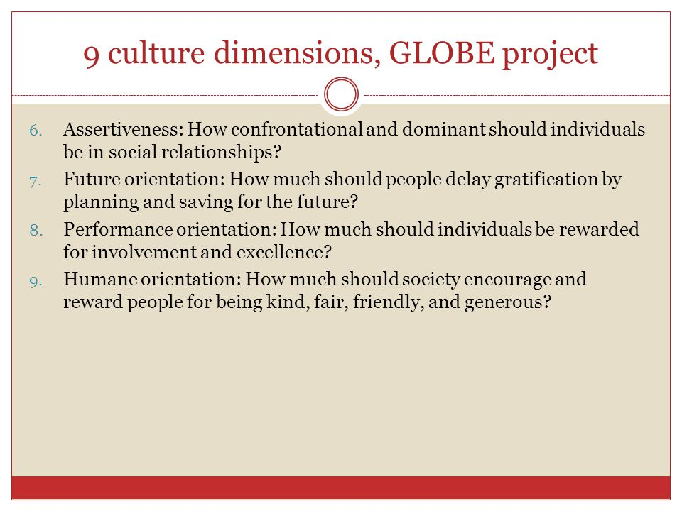 9 culture dimensions, GLOBE project