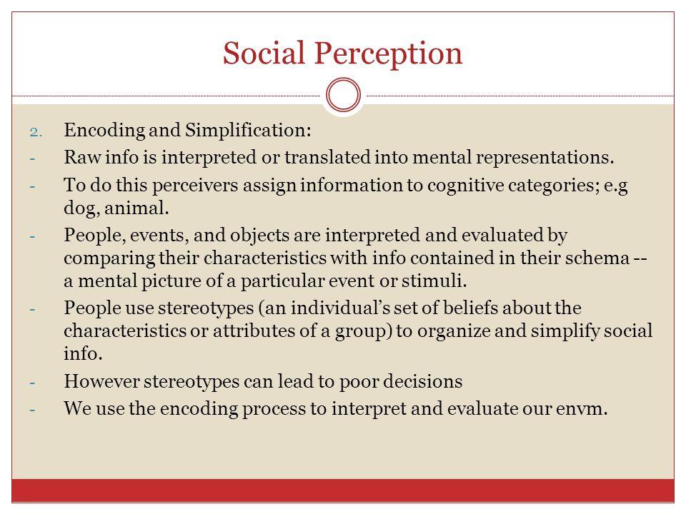 Social Perception Encoding and Simplification: