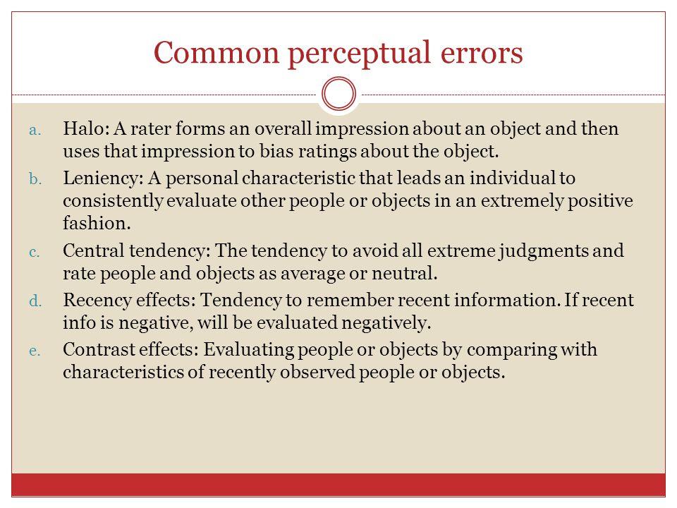 Common perceptual errors