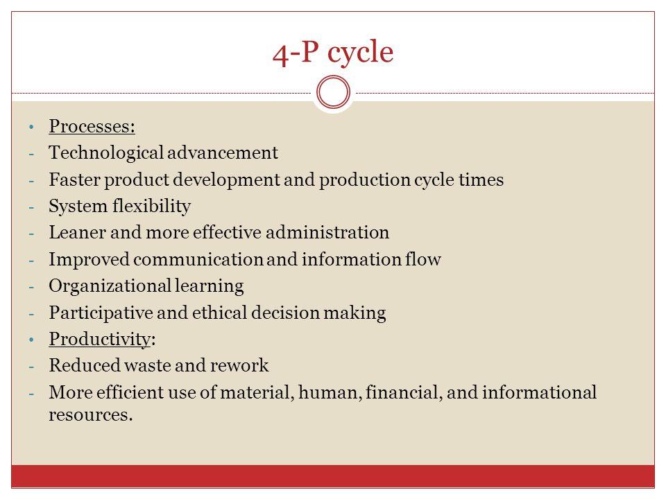 4-P cycle Processes: Technological advancement