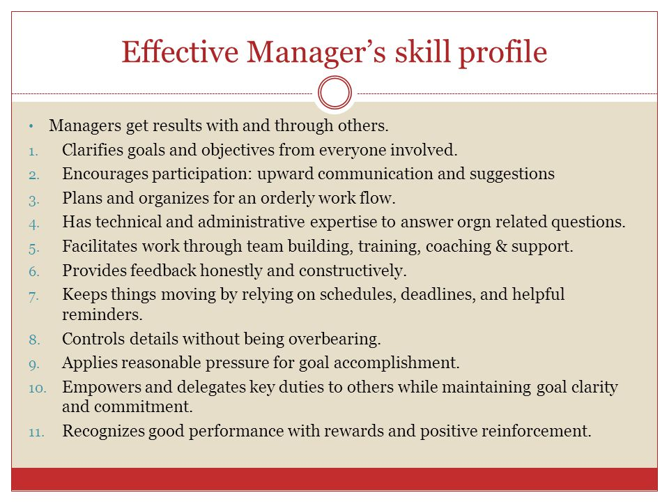 Effective Manager's skill profile
