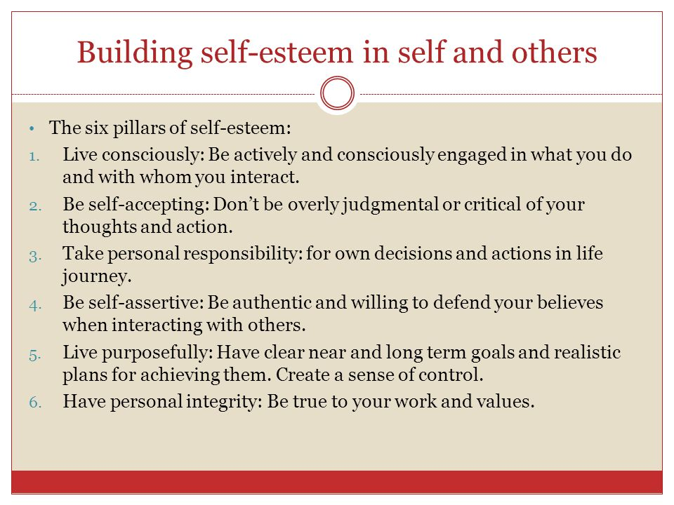 Building self-esteem in self and others