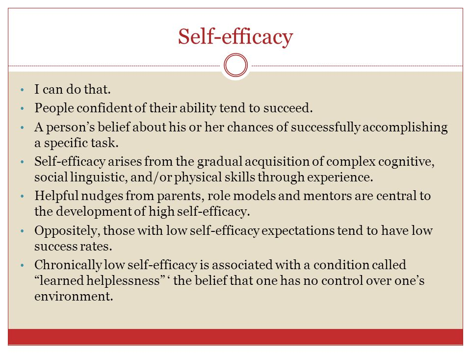 Self-efficacy I can do that.
