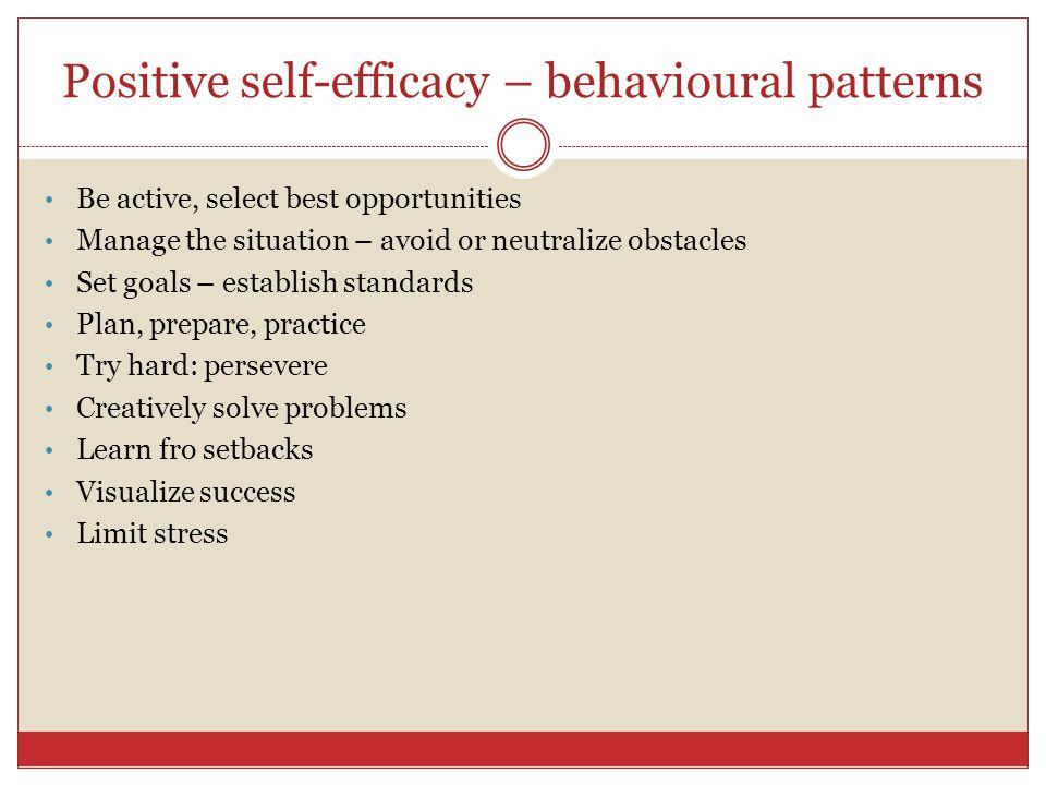 Positive self-efficacy – behavioural patterns
