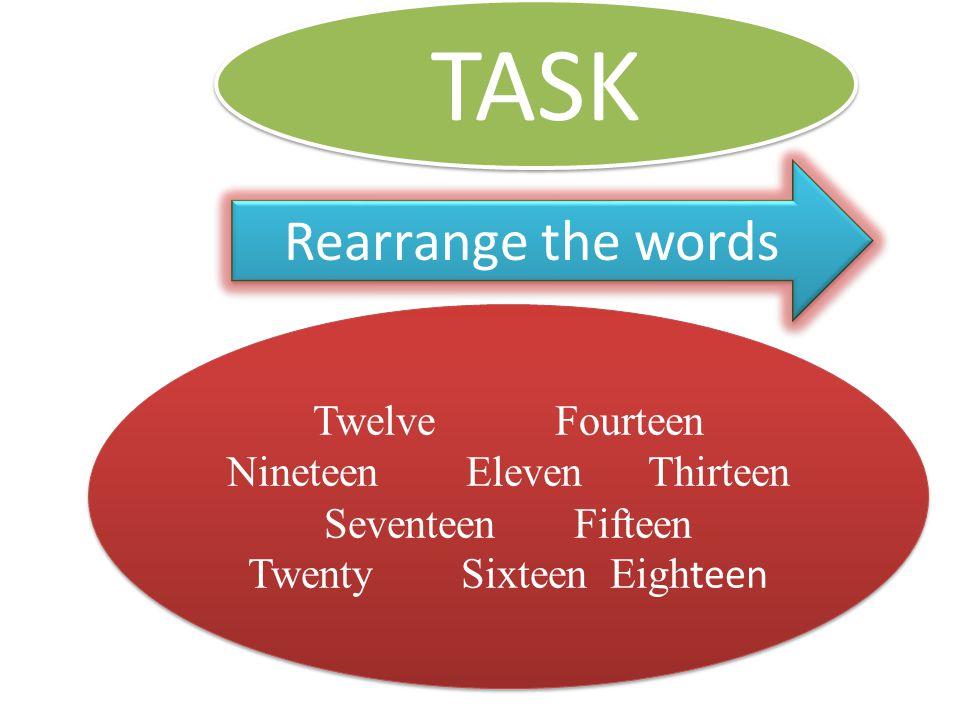 TASK Rearrange the words