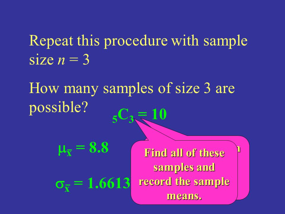 Repeat this procedure with sample size n = 3