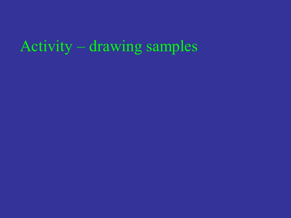 Activity – drawing samples