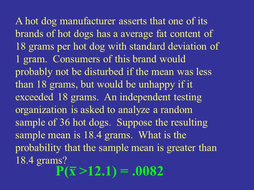 A hot dog manufacturer asserts that one of its brands of hot dogs has a average fat content of 18 grams per hot dog with standard deviation of 1 gram. Consumers of this brand would probably not be disturbed if the mean was less than 18 grams, but would be unhappy if it exceeded 18 grams. An independent testing organization is asked to analyze a random sample of 36 hot dogs. Suppose the resulting sample mean is 18.4 grams. What is the probability that the sample mean is greater than 18.4 grams