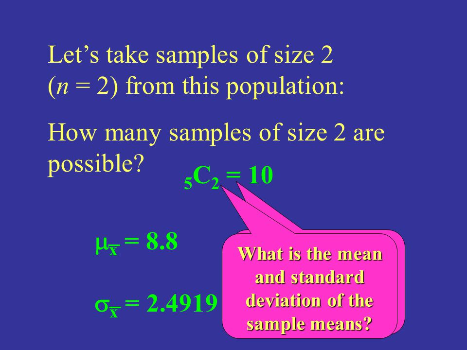 Let's take samples of size 2 (n = 2) from this population: