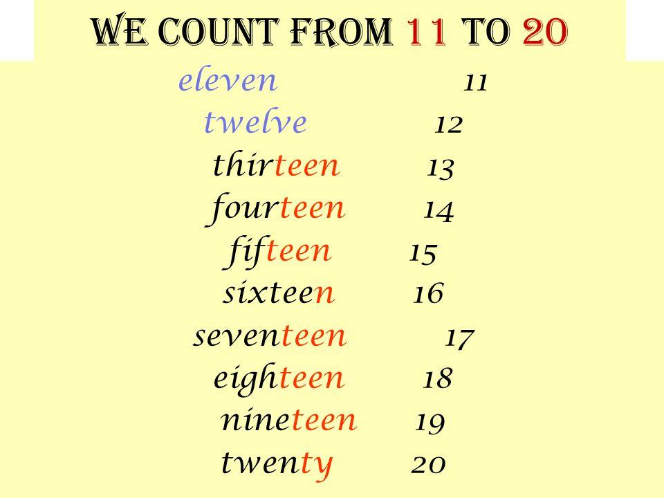 We count from 11 to 20 eleven 11 twelve 12 thirteen 13 fourteen 14