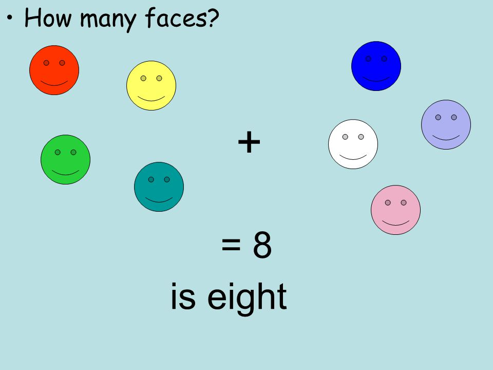 How many faces + = 8 is eight