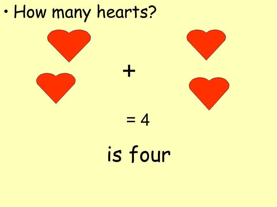 How many hearts + = 4 is four